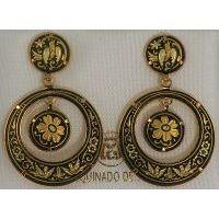 Damascene Gold Bird 28mm Round Drop Earrings by Midas of Toledo Spain style 813005