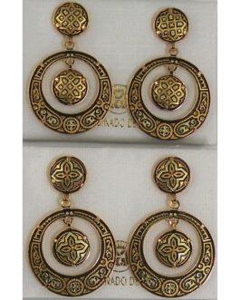 Damascene Gold Geometric 28mm Round Drop Earrings by Midas of Toledo Spain style 813005
