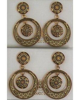Damascene Gold Star 28mm Round Drop Earrings by Midas of Toledo Spain style 813005