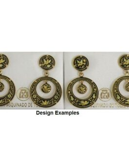 Damascene Gold 24mm Bird Round Drop Earrings by Midas of Toledo Spain style 813008