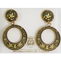 Damascene Gold Bird 24mm Round Drop Earrings by Midas of Toledo Spain style 813007
