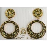 Damascene Gold Star 24mm Round Drop Earrings by Midas of Toledo Spain style 813007