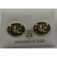 Damascene Gold Oval Bird Earrings by Midas of Toledo Spain style 810007