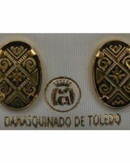 Damascene Gold Oval Geometric Design Earrings by Midas of Toledo Spain style 810007