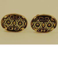 Damascene Gold Oval Star of David Earrings by Midas of Toledo Spain style 810007