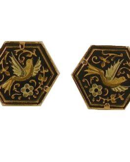 Damascene Gold Bird Hexagon 15 x 14mm Earrings by Midas of Toledo Spain Style 810008