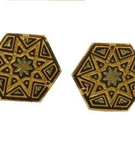 Damascene Gold Geometric Hexagon 15 x 14mm Earrings by Midas of Toledo Spain Style 810008