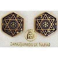 Damascene Gold Star of David Hexagon 15 x 14mm Earrings by Midas of Toledo Spain Style 810008
