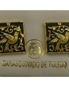 Damascene Gold 12mm Square Bird Earrings by Midas of Toledo Spain style 810009
