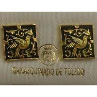 Damascene Gold 12mm Square Bird Earrings by Midas of Toledo Spain style 810009