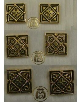 Damascene Gold 12mm Square Geometric Earrings by Midas of Toledo Spain style 810009