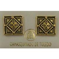 Damascene Gold 12mm Square Geometric Earrings by Midas of Toledo Spain style 810009