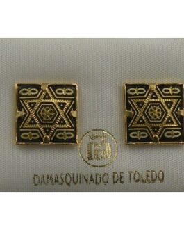 Damascene Gold 12mm Square Star of David Earrings by Midas of Toledo Spain style 810009