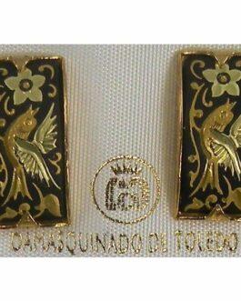 Damascene Gold Bird Rectangle Stud Earrings by Midas of Toledo Spain style 2122
