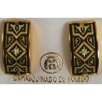 Damascene Gold Geometric Rectangle Stud Earrings by Midas of Toledo Spain style 2122