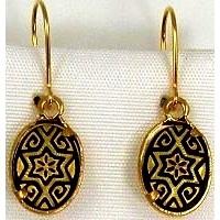 Damascene Gold Star of David Oval Drop Earrings by Midas of Toledo Spain style 811001