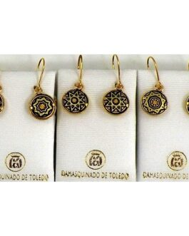 Damascene Gold Star Round Drop Earrings by Midas of Toledo Spain style 811002