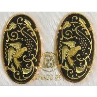 Damascene Gold 26mm x 14mm Oval Bird Stud Earrings by Midas of Toledo Spain style 810013