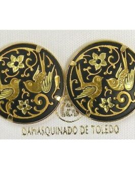 Damascene Gold 21mm Round Bird Stud Earrings by Midas of Toledo Spain style 810014