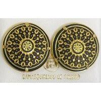 Damascene Gold 21mm Round Geometric Stud Earrings by Midas of Toledo Spain style 810014