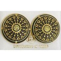 Damascene Gold 21mm Round Geometric Stud Earrings by Midas of Toledo Spain style 810014