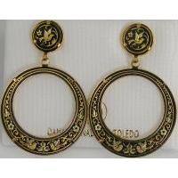 Damascene Gold Bird 33mm Round Drop Earrings by Midas of Toledo Spain style 813001