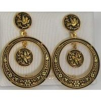 Damascene Gold Bird 34mm Round Drop Earrings by Midas of Toledo Spain style 813002