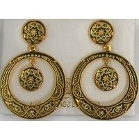 Damascene Gold Star 34mm Round Drop Earrings by Midas of Toledo Spain style 813002