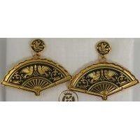 Damascene Gold Bird Fan Drop Earrings by Midas of Toledo Spain style 2147