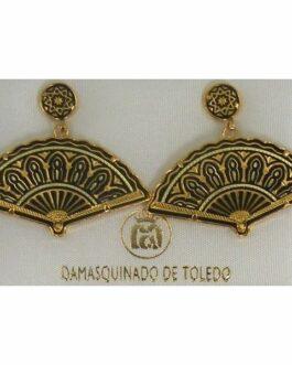 Damascene Gold Star Fan Drop Earrings by Midas of Toledo Spain style 2147