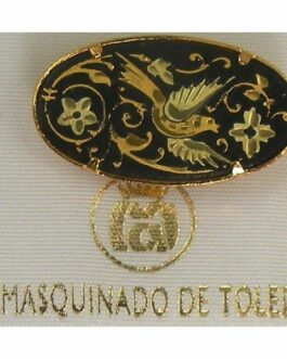 Damascene Gold Bird Oval Brooch by Midas of Toledo Spain style 825001