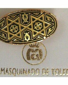 Damascene Gold Star of David Oval Brooch by Midas of Toledo Spain style 825001