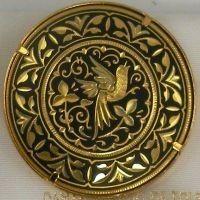 Damascene Gold Bird Round Brooch by Midas of Toledo Spain style 825002