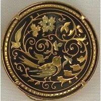 Damascene Gold Bird Round Brooch by Midas of Toledo Spain style 825004