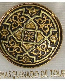 Damascene Gold Geometric Round Brooch by Midas of Toledo Spain style 825004