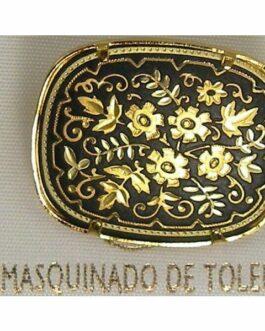 Damascene Gold Flower Rectangle Brooch by Midas of Toledo Spain style 825005