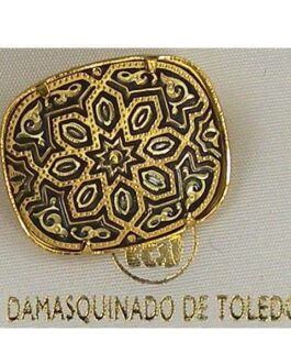 Damascene Gold Geometric Rectangle Brooch by Midas of Toledo Spain style 825005