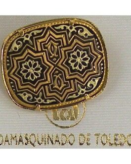 Damascene Gold Star Rectangle Brooch by Midas of Toledo Spain style 825005