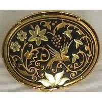 Damascene Gold Bird Oval Brooch by Midas of Toledo Spain style 825006