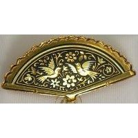 Damascene Gold Bird Fan Brooch by Midas of Toledo Spain style 825007