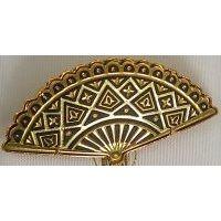 Damascene Gold Geometric Fan Brooch by Midas of Toledo Spain style 825007