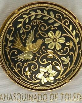 Damascene Gold Bird Round Brooch by Midas of Toledo Spain style 825009
