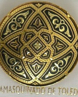 Damascene Gold Geometric Round Brooch by Midas of Toledo Spain style 825009