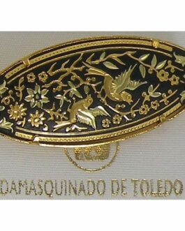 Damascene Gold Bird Oval Brooch by Midas of Toledo Spain style 825010