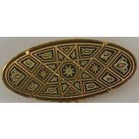 Damascene Gold Geometric Oval Brooch by Midas of Toledo Spain style 825010