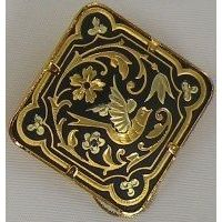 Damascene Gold Bird Diamond Brooch by Midas of Toledo Spain style 825011