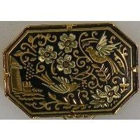 Damascene Gold Bird Octagon Brooch by Midas of Toledo Spain style 825012