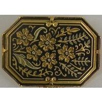 Damascene Gold Flower Octagon Brooch by Midas of Toledo Spain style 825012