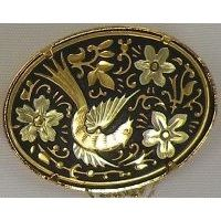 Damascene Gold Bird Oval Brooch by Midas of Toledo Spain style 825013