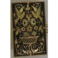Damascene Gold Bird Rectangle Brooch by Midas of Toledo Spain style 825014